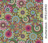 floral background made of many... | Shutterstock .eps vector #595114943
