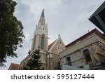 immanuel church building...   Shutterstock . vector #595127444