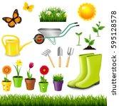 gardening tools with gradient... | Shutterstock .eps vector #595128578