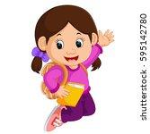 cute girl go to school cartoon | Shutterstock . vector #595142780