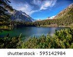 strbske pleso lake in high... | Shutterstock . vector #595142984