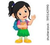 Cute Girl Go To School Cartoon