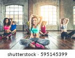 group of sportive people... | Shutterstock . vector #595145399