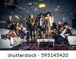 multi ethnic group of friends... | Shutterstock . vector #595145420