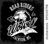 vintage american wolf bikers... | Shutterstock .eps vector #595145798