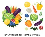 colorful vegetables  fruits and ...   Shutterstock .eps vector #595149488