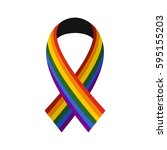 ribbon lgbt icon in flat style... | Shutterstock .eps vector #595155203