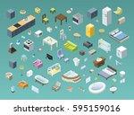 bid set of vector isometric... | Shutterstock .eps vector #595159016