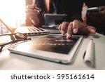 businessman making presentation ... | Shutterstock . vector #595161614