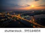 bhumibhol bridge at the night...   Shutterstock . vector #595164854