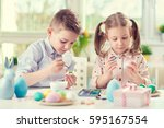two happy children having fun... | Shutterstock . vector #595167554