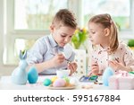 two happy children having fun... | Shutterstock . vector #595167884