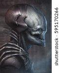 3d alien figure side view | Shutterstock . vector #595170266