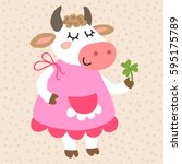cute cartoon cow on a beige... | Shutterstock .eps vector #595175789