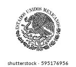 mexican flag emblem | Shutterstock .eps vector #595176956