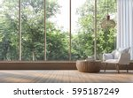 modern living room with nature... | Shutterstock . vector #595187249