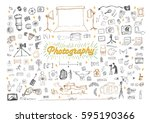 photography doodle objects and... | Shutterstock .eps vector #595190366