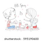 happy couple in love at a... | Shutterstock .eps vector #595190600
