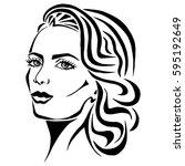 illustration with outline... | Shutterstock .eps vector #595192649