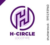 letter h logo with circle in... | Shutterstock .eps vector #595193960