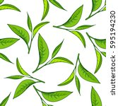 seamless pattern with green tea ... | Shutterstock .eps vector #595194230