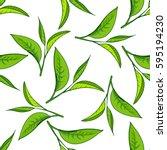 seamless pattern with green tea ... | Shutterstock .eps vector #595194230