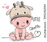 cute cartoon baby boy in a... | Shutterstock .eps vector #595196594