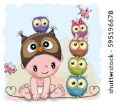 cute cartoon baby boy in a owl... | Shutterstock .eps vector #595196678