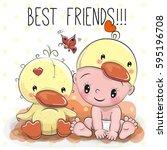 cute cartoon baby in a duck hat ... | Shutterstock .eps vector #595196708