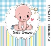 baby shower greeting card with... | Shutterstock .eps vector #595196738