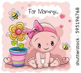 greeting card baby with flower... | Shutterstock .eps vector #595196768