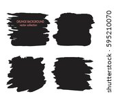 set of black square hand drawn... | Shutterstock .eps vector #595210070
