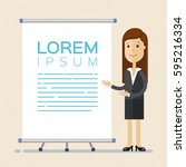 business woman  points to flip... | Shutterstock .eps vector #595216334