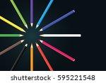 colored pencils arrange in... | Shutterstock .eps vector #595221548
