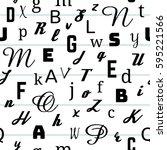 alphabet seamless pattern... | Shutterstock .eps vector #595221566