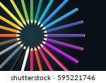colored pencils arrange in... | Shutterstock .eps vector #595221746