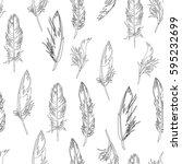 feather seamless pattern. hand... | Shutterstock .eps vector #595232699
