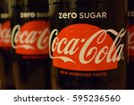closeup image of coca cola zero ... | Shutterstock . vector #595236560