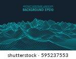 wireframe landscape background. ... | Shutterstock .eps vector #595237553