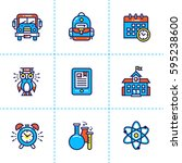 vector collection of line icons ... | Shutterstock .eps vector #595238600