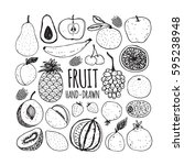 set of fruit in doodle style.... | Shutterstock .eps vector #595238948