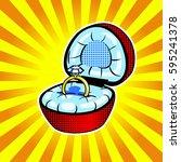 precious jewelery ring pop art...   Shutterstock .eps vector #595241378