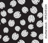 tropical leaves on black... | Shutterstock .eps vector #595245104