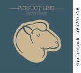 sheep vector line  symbol  logo ...   Shutterstock .eps vector #595247756
