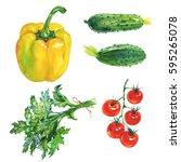 watercolor set of fresh... | Shutterstock . vector #595265078