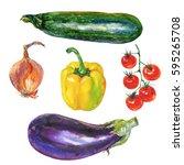 watercolor vegetables set. hand ... | Shutterstock . vector #595265708