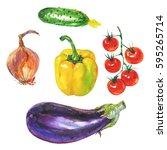 hand drawn yellow paprika... | Shutterstock . vector #595265714