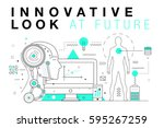 trendy innovation systems... | Shutterstock .eps vector #595267259