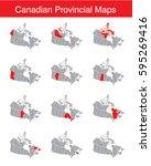 vector set of canadian provinces | Shutterstock .eps vector #595269416