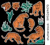 set of tiger and plants patches ...   Shutterstock .eps vector #595269470